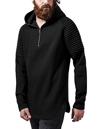 Urban Classics Pleat Sleeves Terry Hoody, Felpa Uomo, Nero (Black 7), Large