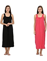 Ishita Fashions Cotton Gown Slip - Cotton Nighty - 2 PCs - Black and Pink