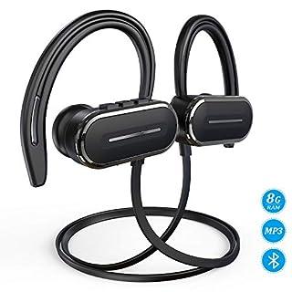 HSPRO Écouteur Bluetooth, Casque Bluetooth san Fil, IPX5 Étanche Anti-Transpiration Écouteurs Sport stéréo avec Microphone, 8GB Mémoire intégrée Lecteur MP3, 12h Lecture