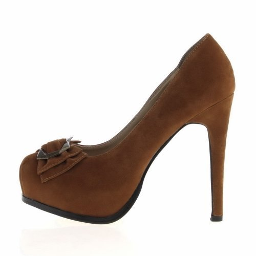 Damen Schuhe, PUMPS, HIGH HEELS PLATEAU MIT DEKO, R2507A, Synthetik in hochwertiger Velour Leder Optik Camel