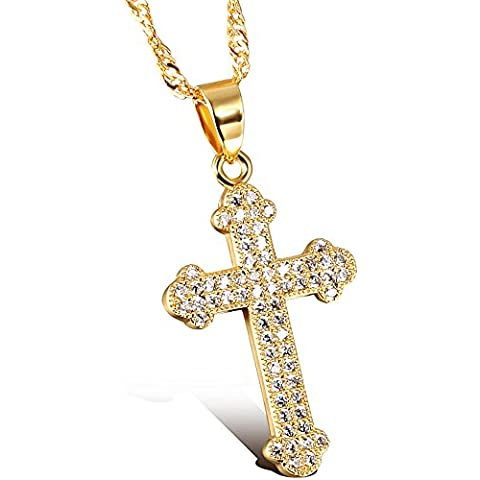 De la Mujer amarillo 18K chapado en oro circonita religiosa oración cruz CZ colgante collar charm-with
