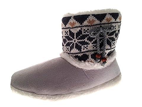 Damen Hausschuhe/Hausstiefel - Kunstfell & Ziersteine - Warm für den Winter - Grau mit Strick - L (40-41)