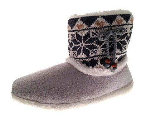 Chaussons montants style tricot - fausse fourrure/polaire - fille Cousu Gris