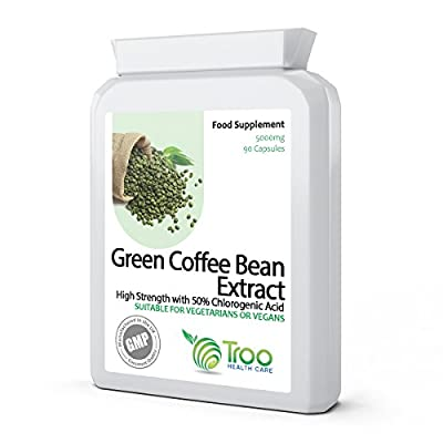 Green Coffee Extract 5000mg 90 Vegetarian Capsules - Weight Loss, Diet & Slimming Support Supplement Using Raw, Unroasted Green Coffee Beans. UK GMP Manufactured from Troo Health Care
