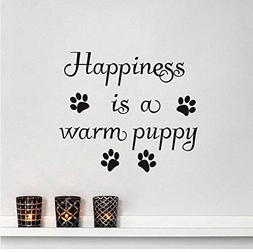 (Wiwhy Dogs Paw Print Aufkleber Zitat Glück Ist Ein Warmer Welpe Wand Aufkleber Home Decor Kühlschrank Dekor Dekoration Kunst Wandbild 44X49Cm)