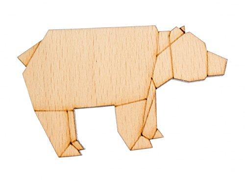 Brosche Holz (Bär Brosche Anstecknadel Krawattennadel Teddybär Grizzly Abstrakt Origami Holz)