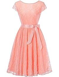 b9479fa2d645 HENCY Vintage Vestito Mini Vestiti Donna Tulle Abito Manica Corta Eleganti  Corti da Cermonia Pizzo Sera