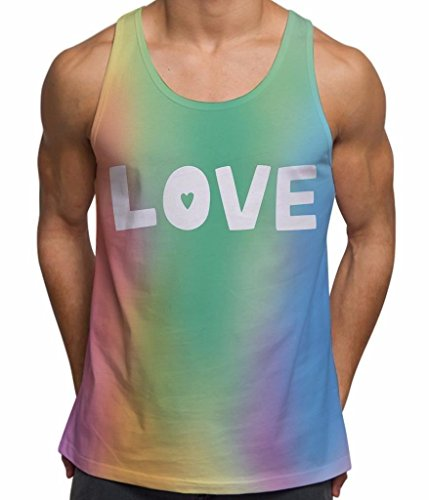 Bang Tidy Clothing Herren Trägershirt Fitness Workout Bedrucktes Tank Top Regenbogen Love Gay Pride Sommer Urlaub Kleidung