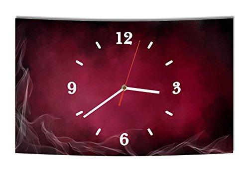 LAUTLOSE Designer Wanduhr Abstrakt rot lila Rauch modern Dekoschild Abstrakt Bild 38 x 25cm