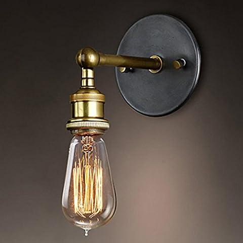 AMZA United States retro creative metal copper lamp living room restaurant coffee shop lighting E27 110V ~ 220V pole length 12cm, chassis diameter 12cm