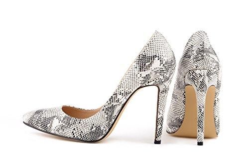 HooH Femmes Sexy Léopard Pointu Stiletto Escarpins Noir and Blanc