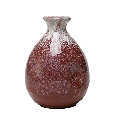 Mini chinesische Keramik Blumenvase Bud Vase Weinflasche, ideales Geschenk für Home Office, Dekor, Tischvasen, Bücherregal Ornamente Flaschen, Scharlachrot