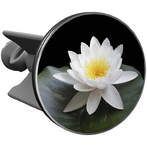 Plopp Tappo per il Lavabo Fiore di Loto, Bianco, Tappo per Lavandino, Lavello