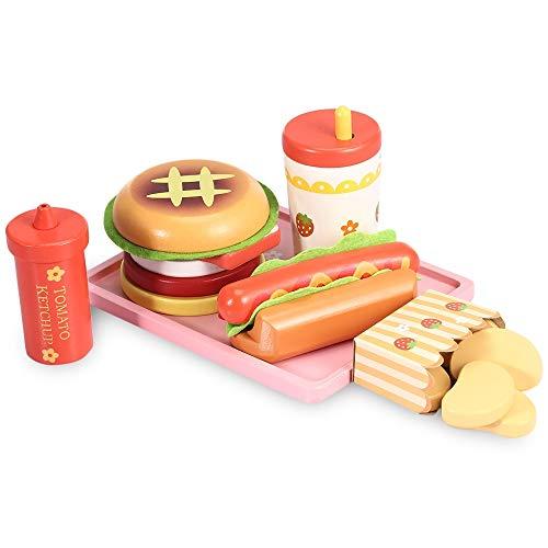 Fast-Food-Abendessen   Hölzernes Diner-Essen für kreatives Pretend Play   Klassische amerikanische Mahlzeit mit Cheeseburger, Hühnerflügel, Ketchup, kalter Cola (Essen Vorgeben Restaurant)