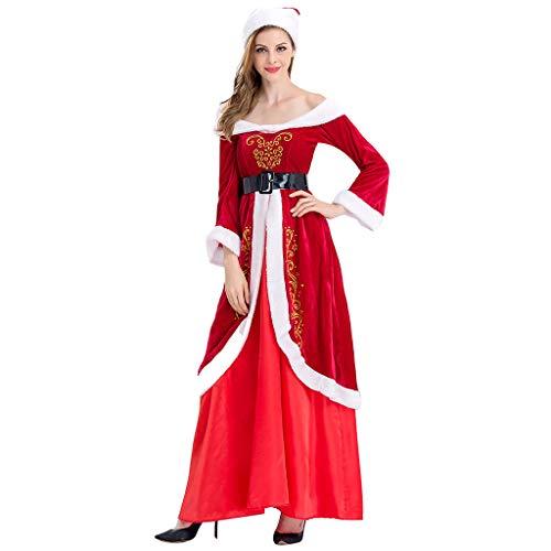 Rabung Costume de Mère Noël,Jupe Et Gants Déguisement-Femme, Costume de Soirée Cosplay/Costume Père Noël, Chapeau + Robe + Ceinture Rouge
