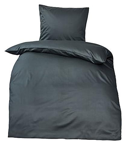 MOON Premium Mako Satin Bettwäsche 100% Baumwolle (Deckenbezug 155x220, anthrazit)