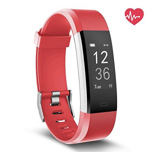 Fitness Tracker mit Herzfrequenz, Delvfire Wasserdicht Aktivitätstracker uhr mit Pulsemesser, Smart Armband für Damen, Herren, Kinder mit Schlafüberwachung, Schrittzähler für Android Apple - Rot