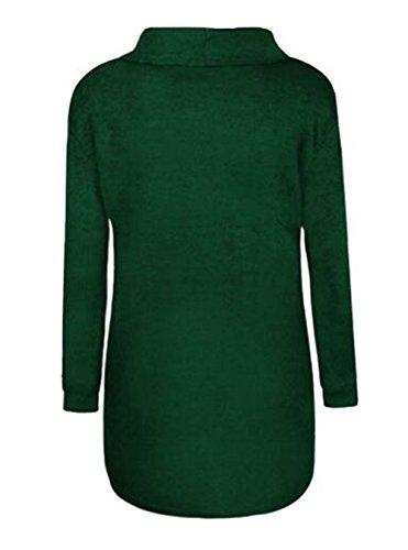 BESTHOO Camicetta Donna Manica Lunga Con Alta Colletto T Shirt Buse E Camicie Eleganti Camicia Slim Bluse Maglie Puro Colore Tops Casual Green