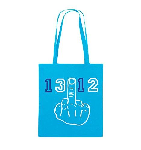 Comedy Bags - FUCK FINGER 1312 - Jutebeutel - lange Henkel - 38x42cm - Farbe: Schwarz / Weiss-Neongrün Hellblau / Weiss-Royalblau