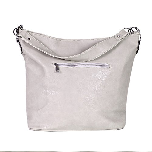 DonDon Borsa donna simil pelle Hobo Bag con chiusura a zip marrone scuro 41 x 31 x 14 cm Crema