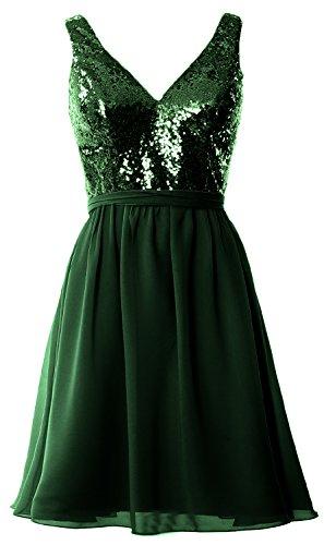 MACloth Women Straps V Neck Sequin Short Bridesmaid Dress 2017 Formal Party Gown Dark Green