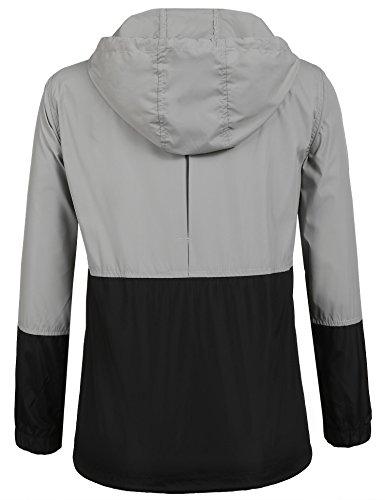 Damen Jacke Windbreaker Übergangsjacke Wasserabweisend Regenmantel Regenjacke mit Kapuze , Farbe - Schwarz , Gr. S - 3