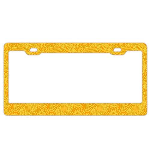DIY Rine 30,5 x 15,2 cm Aluminium Metall Kennzeichenrahmen Humor Kennzeichenrahmen Abdeckung Halter Auto Tag Rahmen 2 Loch Schrauben, Yellow Ornament Stripe -