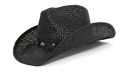 Peter grimm 0606492008564 Gold Coast Sunwear Western Straw Cowboy Hat Black  With- Price in India 1c56635a4ad