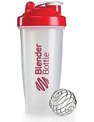 BlenderBottle Classic - Botella de agua y mezcladora, color rojo-transparent, 590 ml