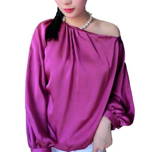Woman Chic Palstic Pearl Necklace Halter Neck Off-Shoulder Top Blouse