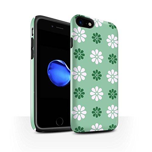 STUFF4 Glanz Harten Stoßfest Hülle / Case für Apple iPhone 8 / Multipack / Muster mit Blütenblättern Kollektion Grün