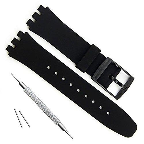Correa de repuesto ultrafina de silicona resistente al agua para reloj Swatch de la serie Skin (16mm, Black)