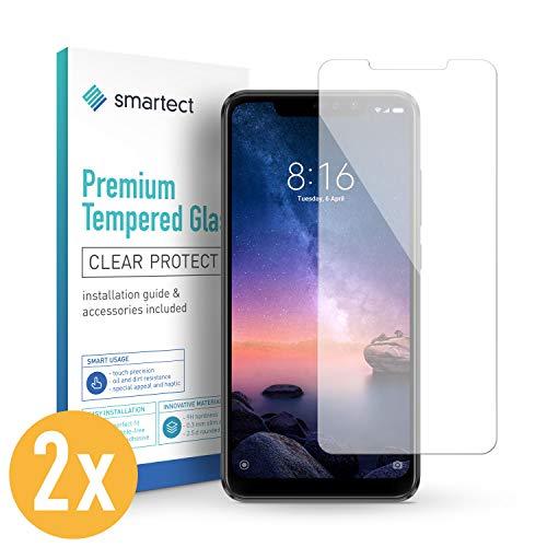 smartect Panzerglas für Xiaomi Redmi Note 6 Pro [2 Stück] - Bildschirmschutz mit 9H Härte - Blasenfreie Schutzfolie - Anti Fingerprint Panzerglasfolie