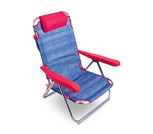 Media wave store spiaggina alluminio fucsia totalmente reclinabile onshore 379837 con braccioli cuscino