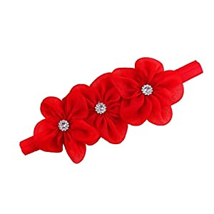 Ziory 1Pc Red 3 Flower hairband Headband baby Girls toddler girls Pearl Rose Flower Hair Band Headband Ribbon Elasticity…