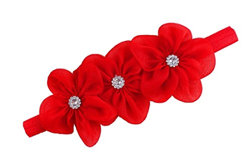 Ziory 1Pc Red 3 Flower hairband Headband baby Girls toddler girls Pearl Rose Flower Hair Band Headband Ribbon Elasticity Hair Accessories Headwear
