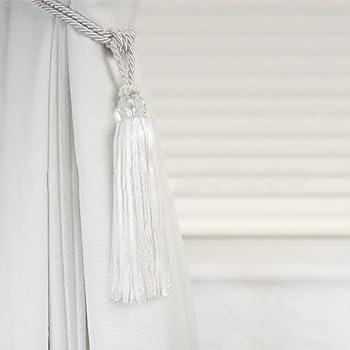 bright white crystal beaded tassel curtain tie back tie back