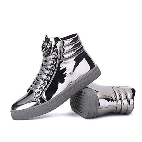 HUAN Herrenschuhe Herren Freizeitschuhe Schnürschuhe Fashion Deck Schuhe (Color : Silber, Size : 42)