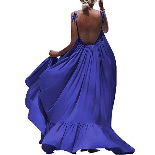 KPILP Robes Femme Bohême Manteau Long Robe Dos Ouvert Fête Robe de Plage - Demoiselles d'honneur - Tenue de Soirée - Robe de Cocktail S-XXXL (Bleu,FR-54/CN-S)