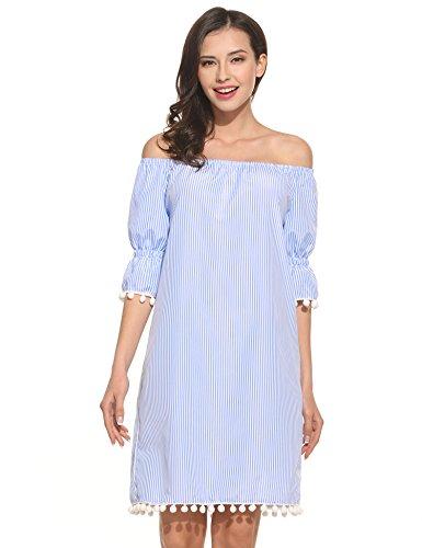 Meaneor Damen Schulterfrei Kleid Sommerkleider mit weiße Bommeln Minikleid trägerlos Strandkleid...