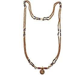 Radha's Creations Traditional Mangalsutra Double Two Line Rope with Black Beads and Lakshmi Coin 30 inch Length One Gram Gold Plated For Women and Girls
