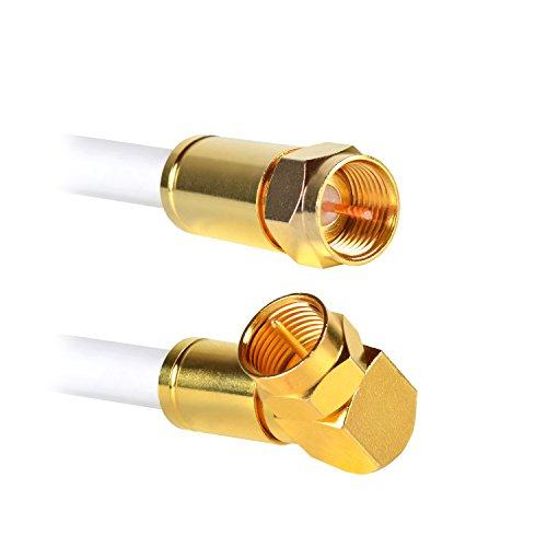 Satellitenkabel | Sat Kabel | 6 Meter | F-Stecker (gerade) zu F-Stecker (gewinkelt) | 135dB 4K UHD 75 Ohm | hochdichte 5-fach Schirmung | Antennenkabel | Anschlusskabel | Koaxialkabel | Koaxial Kabel | Internet Coax-Kabel | (6 Meter, Gerade/Gewinkelt) (6 Meter Stecker)