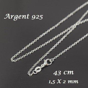 LaMercerieDesCopines Chaine plaqué Argent 925 Collier Maille rolot 2x1.5 mm - 43 cm, Ideal pour des pendentifs et Ras du Cou