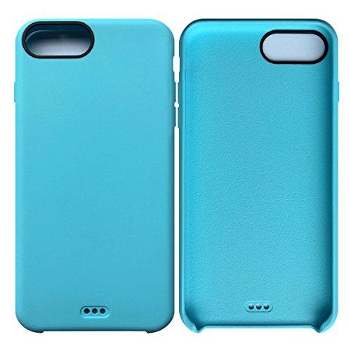 iPhone 7 Plus / iPhone 8 Plus Case Tasche HandyHülle Ultra-dünne Leder-Muster Slim Silikon Case Leicht TPU Ultra Thin Soft Stoßfest Shockproof Staubdicht Schutzhülle Covers Sleeve Leder für iPhone 7 P Hellblau