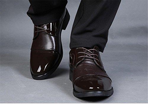 Wealsex Chaussures de ville à Lacet Derby Homme Cuir Vernis Bout Pointu Brun