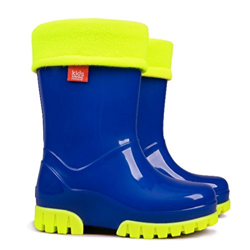 Demar Kids Boys Girls Wellies Wellington Boots Rainy Snow Fluo Neon Thermal Liner