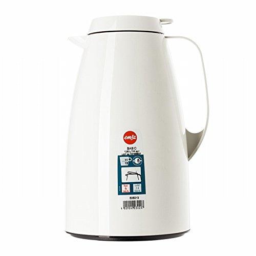 Emsa 505013 Isolierkanne, 1.5 Liter, Quick Tip Verschluss, 100% dicht, Weiß, Basic