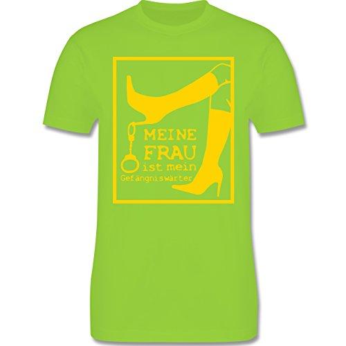 JGA Junggesellenabschied - Meine Frau ist meine Gefängniswärterin - Herren Premium T-Shirt Hellgrün