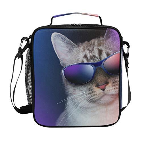 Cool Cat Star Lunchbox mit Sonnenbrille, isoliert, quadratisch, tragbar, groß, für Reisen, Picknick, Schule, Kühler, warme Lunchbox für Kinder, Mädchen, Jungen, Teenager