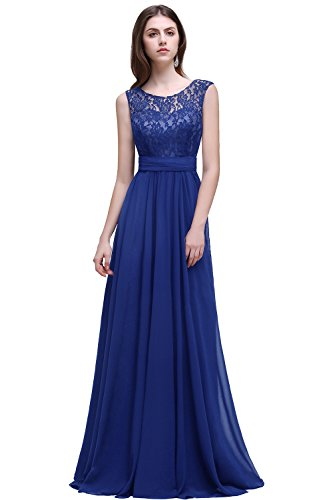Misshow Damen Übergröße Abendkleid Spitze Chiffon Rückenfrei Elegant Lang Ballkleid Gr.32-52, Blau, 38